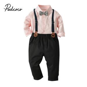 아이 유아 아기 소년 옷 + 멜빵 바지 유아 파티 소년 신사 의상 정장 나비 넥타이 핑크 드레스 셔츠를 설정 2-7T