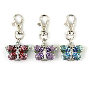 Edelstahl Blau Violett Rosa Keychain Taschen-Uhren Mode-Quarz-Uhr-Geschenk für Dame-Frauen-Mädchen mit freier Box
