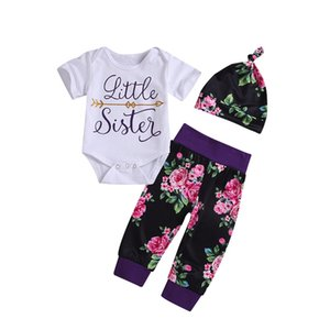 3pcs lot Infant fashion set baby boys girls letter long sleeve romper+print long pants+hat suit fashion chlidren clothes