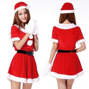 Hot Sale 1 Set Sexy Women Santa Claus Christmas Costume Party Girls Outfit Fancy Dresses White Fluff Women's Underwear Underwear Gloves Chri