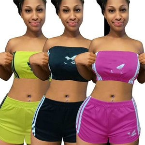 Women Chest Wrap+Shorts 2pcs Sets Sportswear Tube Tops Sweat Suit Sexy S-2XL Outfits Letter Tracksuit Summer Trendy Clothing 3212