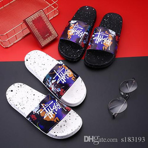 2019 fashion designer slides sandals men women shoes fashion wide flat slippers luxury beach flip flops high quality Sandals