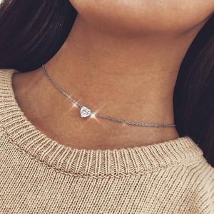 Kristal Kalp kolye kolye Kadınlar Kadın Kısa Altın Zincir Kolye Kolye Kolye Kristal Kalp Chocker Bildirimi Takı Hediye