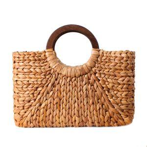 Designer- Donna Vintage Rattan Handbag Donna Bohemian Summer Beach Paglia Borse Lady Simple Weave Bag Handmade Casual Grande Tote SS3032