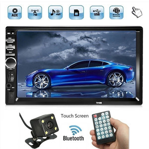 Autoradio 2 DIN Autoradio 7 '' HD Touch Screen Bluetooth FM USB AUX SD Auto-DVD-Player + 4 LED-Rückfahrkamera