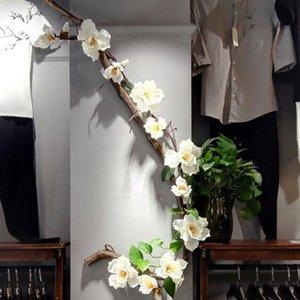 Vigne Artificielle Fleur De Magnolia Canne Faux Branches De Fleurs De Mariage Guirlande De Fleurs Chaîne Magnolia Soie Fleurs De Mariage Décoration