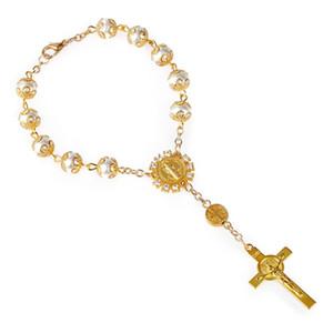 Различные цвета кружева Креста браслетом Иисус Христос Бисер браслет Католический Розарий Молитва Искусственные жемчужные бусы Браслеты 1 8nxH1