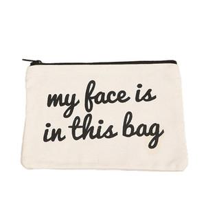toptan 19cmx15cm boş tuval fermuar Kalem durumlarda kalem poşetleri pamuk kozmetik Çanta makyaj çantaları Cep telefonu debriyaj çanta