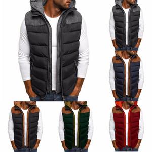 Quentes Mens grossas de inverno Casacos Coletes sem mangas de jaquetas casuais Brasão Colete algodão com capuz Plus Size Duck jaquetas masculinas Coletes