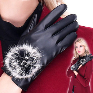 Hot Sale Fashion Women Winter Warm Glove PU Leather Cycling Riding Bicycle Outdoor Gloves Lady Touch Screen Winter Glove