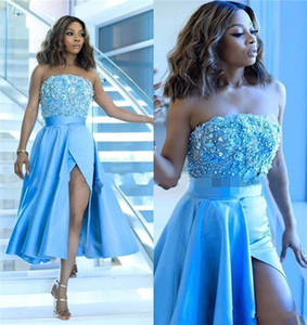 2019 Sexy Blau Frauen Cocktailkleider Trägerlose Spitze Perlen Pailletten Ärmellose High Split Open Back Prom Party Plus Size Homecoming Kleider
