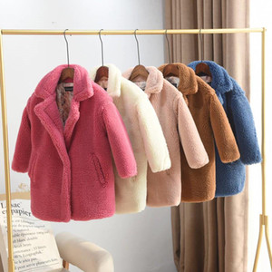 2019 Kinder Sheep Shearling Strickjacke-Mantel-Kind-Mädchen-Thick-beiläufige lange Jacke Jugendlich Mädchen-Pelz-warme Oberbekleidung Kleidung Q470