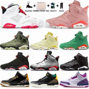 Nuovo Hare Travis Scotts nero a infrarossi 6 6s Mens Basketball Shoes Black Cat UNC 3s Cemento Nero Rosso Animal Instinct 2 Sneakers Sport