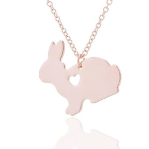 Fashion Cute Rabbit Necklace Engraved Love Heart Charm Animal Bunny Pendant necklace