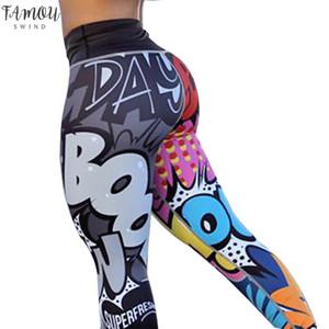Kadın Hayvan Baskı Dijital Baskı Tayt Egzersiz Tayt Yüksek Bel Mujer Leggins Push Up Spor Tayt Bayan Pantolon