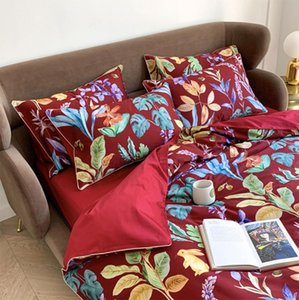 Fashion red yellow blue bedding set,full queen king cotton vintage plant double home textile bed sheet pillow case duvet cover