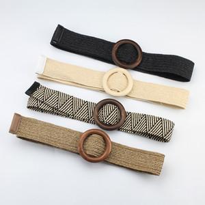 Hot Women's Belt Weave Wood Buckle Dress Decoration Lady Fashion Belt 4 Colors S538