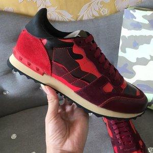 Kadınlar Erkekler Stud Casual Ayakkabı Sneakers G27 için 2020 Yeni Renk Kamuflaj Süet Çivili Kamuflaj Sneaker Ayakkabı