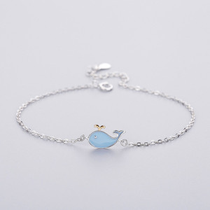 925 jóias de prata feminina pulseira bonito animal azul Dolphin Chain Link jóias charme pulseira ajustável