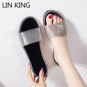 LIN KING Big Size 35-43 Appartamenti Pantofole Donne Moda strass Infradito Ladies Beach Outdoor Pantofole donna Slides