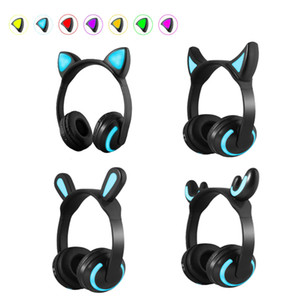 Foldable Flashing Glowing Cat Ear Children's Bluetooth headphones Gaming Headset LED light Over on Earphones For PC Computer Phone Cosplay