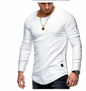 19AW Mens Designer T-shirt ras du cou Mode de couleur unie froncé à manches longues T-shirts occasionnels des hommes T-shirts