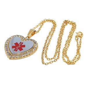 Heart Shaped Alert ID EMT Necklace Pendant Men 50cm Decorative Chain