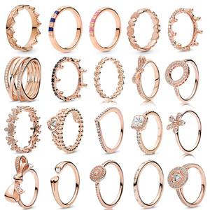 NUEVO oro rosa anillos romántica de la corona del Bowknot de las mujeres con el cristal claro fino dedo de la joyería del anillo de bodas Oferta Regalo Especial