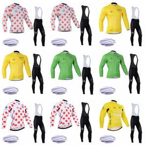 프로 팀 TOUR DE FRANCE 겨울용 열 양털 남성용 사이클링 저지 세트 긴 소매 로파 Ciclismo Cycling Clothing Wear bib 긴 바지 K022508