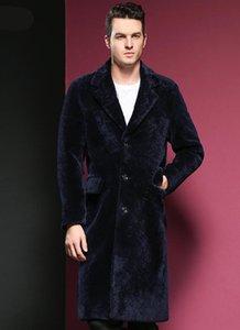 Homens Genuine Leather Jacket Alongar Fur Couro Windbreaker inverno do revestimento do revestimento Sheep Shearing da pele dos homens Vestuário Uma demão