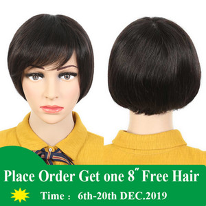 Brazilian Remy Human Hair Short Straight Wigs for Black Women Cheap Lace Wigs Brazilian Pixie Cut 100% Human Hair Natural Black Wigs