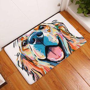 Современная фланель ковриков Прекрасных собаки печать Ковры Противоскользящей покрытие Mat кухня Гостиная Открытых Ковровые животные Doormat 40x60cm
