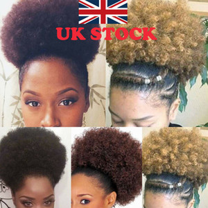COU onduleux Kinky Curly Perruques 2019 Nouveau Femmes Afro Chignon Ponytail synthétique Kinky Puff Puff bouclés clip en Drawstring