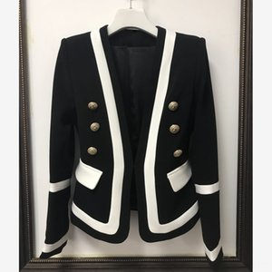 HIGH QUALITY Women's Suits & Blazers Women's Clothing New Fashion 2020 Designer Blazer Jacket Womens Classic Black White Color Block Metal B