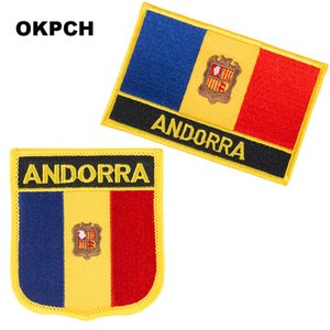 Envío gratuito bandera de Andorra bordado hierro en parche 2 piezas por juego PT0014-2