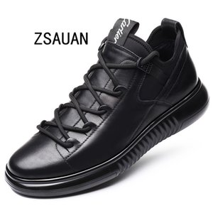 ZSAUAN New Arrival Men Fashion 5CM Elevator Shoes Trending Winter Warm Plush Sneaker Black Leather Non-slip Outdoor Casual Shoes T200323