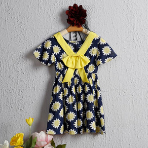 Kid Girl Floral Dress Bowknot Summer Kid Baby Girl Wedding Party Gown Dress Holiday Beach Sundress