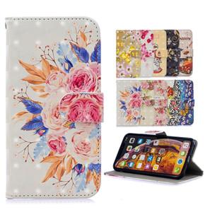 Bling de la flor de 3D Carpeta de cuero del caso para Samsung Galaxy A20E A20 A30 A40 A50 A70 M30 Soporte de dibujos animados de la correa de la mariposa de Londres Identificación piel de la cubierta 50PCS
