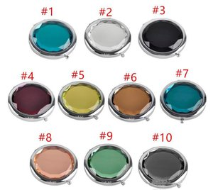 Cosmetic Compact Mirrors Crystal Magnifying Multi Color Make Up Makeup Tools Mirror Wedding Favor epacket freeCrystal compact mirror Engrave