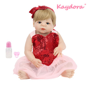 Venta al por mayor 22 pulgadas 55 cm Reborn Baby Doll Full Vinyl lol Juguete sorpresa Lovely Princess Girl Beautiful Bebe bastante heartdress venta caliente