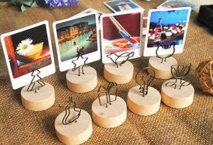 Creativo redondo / cuadrado de madera Clip de foto Memo Tarjeta de nombre Soporte colgante Nota Artículos Marco de foto Número de tabla Soporte de foto