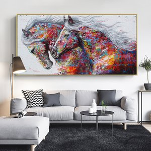 Animal Art Two Running Horses Canvas Painting Wall Art Pictures For Living Room Modern Abstract Art Prints Posters No Frame