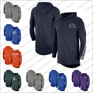 Texas Longhorns Penn State Nittany Lions Hommes 2019 Sideline manches longues à capuche Performance Top Heather Gris Bleu marine Taille S-3XL