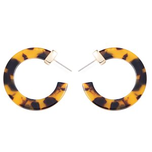 Wild&Free Trendy Multi-Color Small Round Hoop Earrings Women Circle Leopard Acrylic Acetate Tortoise Shell Hoops Alloy Earrings