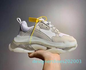 2020 Paris Triple-S 17FW Crystal Bottom Green Luxury Dad Platform Triple Sneakers for Mens Women Vintage Kanye Old Grandpa Trainern d01 d03
