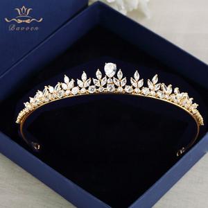 Bavoen mousseux Zircon Robe de mariage Accessoires de cheveux d'or Brides Couronnes Diadèmes plaqué cristal Bandeaux soir Bijoux de cheveux