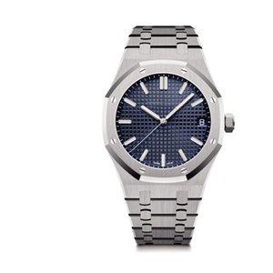 Mode Herren-Uhr Königs 15400 Series 42MM blaues Zifferblatt Voll-Edelstahl-Kasten-Bügel-Spitze automatische mechanische Bewegung Klassische Armbanduhr