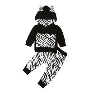 2pcs recién nacido niño de la ropa del muchacho cebra con capucha de la camiseta + pantalones Sweatsuit fijaron el equipo de los bebés juego de ropa