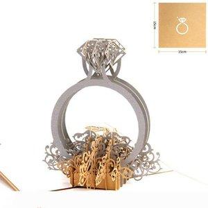 Gold Laser Cut 3d Ring Pop Up Hochzeit Einladungen Romantische Handgemachte Valentinstag für Liebhaber Postkarte Grußgeschenkkarte