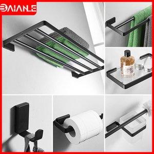 Handtuchhalter Schwarz Doppel-Handtuchhalter Edelstahl Handtuchhalter hängend Halter Kleiderhaken Badezimmer Regal Glas Toilettenpapierhalter T200425